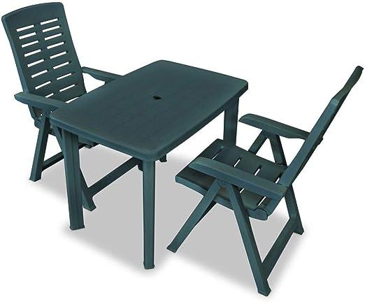 guyifuzhuangs Mesa y sillas de jardín 3 Piezas Verde 101x68x72cm ...