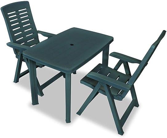 honglianghongshang Muebles de jardín Conjuntos de jardínSet de Mesa y sillas bistró de jardín 3 Piezas plástico Verde: Amazon.es: Hogar