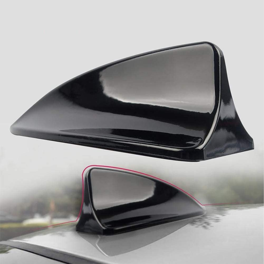 Black FOLCONROAD Decorative Car Roof Top Shark Fin Antenna Dummy Aerial Trim Plastic Shark Fin Roof Decorative Antenna Aerial for Auto