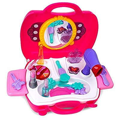 WenToyce Kids Pretend Play Make Up Case And Cosmetic Set, Durable Beauty Kit Hair Salon with 21 Pcs Makeup Accessories for Children Girls: Toys & Games