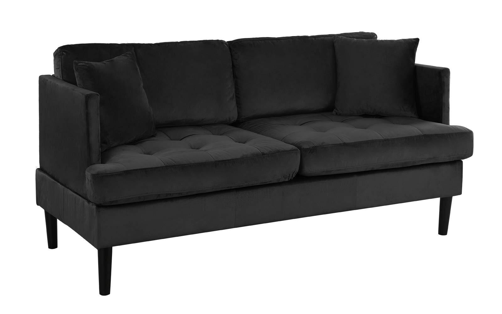 Mid Century Modern Velvet Loveseat Sofa with Tufted Seats (Black) by Casa Andrea Milano