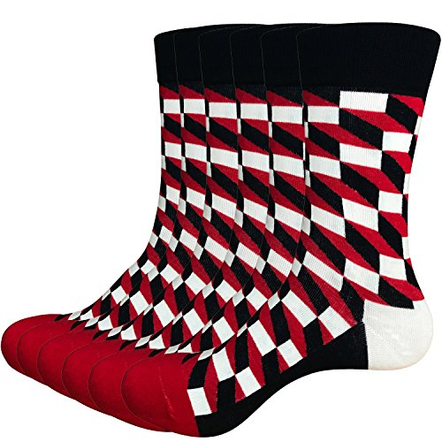 Areke Mens Soft Cotton Comfort Sport Crew Socks, Colorful Grid Patterned Athletic Casual Soxs 6 Pairs Color 6Pack Redblack Size US Shoe Size 6-12 by Areke (Image #4)