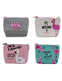Cute Canvas Change Coin Purse Small Zipper Pouch Bag Wallet by Aiphamy, 3/4 Pack