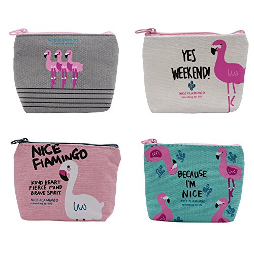 Cute Canvas Change Coin Purse Small Zipper Pouch Bag Wallet by Aiphamy (Flamingo, 4 ()