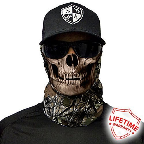 SA Company Face Shield Micro Fiber Protect From Wind, Dirt & Bugs. Worn as Balaclava, Neck Gaiter & Head Band For Hunting, Fishing, Boating, Cycling, Paintball & Salt Lovers – Forest Camo Dregs Skull