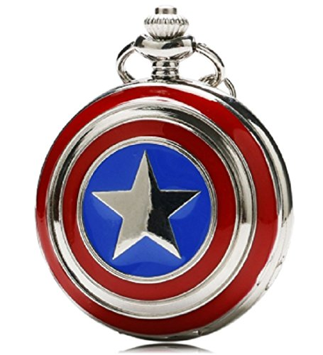 CAPTAIN AMERICA Pocket Watch is Stainless Steel with Enamel Red & Blue Logo- 30″ Chain.Perfect Gift for SUPERHERO CA Fans