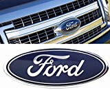 2004-2014 Ford F150 Front Grille Tailgate Emblem, Oval 9''X3.5'', Dark Blue Decal Badge Nameplate Also Fits for 04-14 F250 F350, 11-14 Edge, 11-16 Explorer, 06-11 Ranger