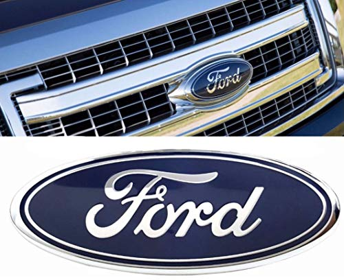 2004-2014 Ford F150 Front Grille Tailgate Emblem, Oval 9''X3.5'', Dark Blue Decal Badge Nameplate Also Fits for 04-14 F250 F350, 11-14 Edge, 11-16 Explorer, 06-11 Ranger by Carstore
