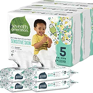 Seventh Generation Size 5 Diapers and Wipes Box, 69 Diapers with Animal Prints and 256 Wipes for Sensitive Skin, Bundle (Packaging May Vary)