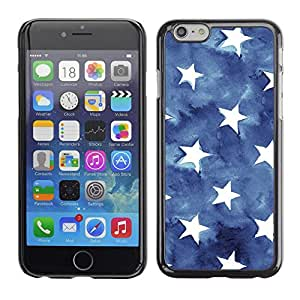 Soft Silicone Rubber Case Hard Cover Protective Accessory Compatible with Apple iPhone? 6 (4.7 Inch) - flag stars patriotism watercolor blue