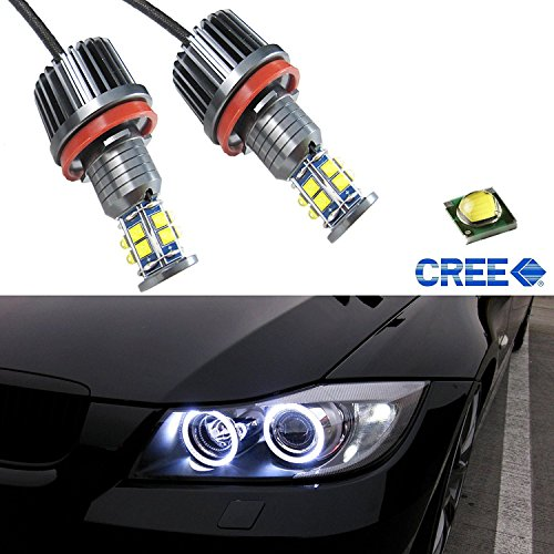 (x xotic tech Angel Eyes for BMW 1 3 5 X Series, Mega 120W 7000K White H8 LED Angel Eyes Ring Marker Bulbs One Pair )