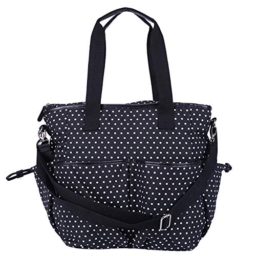 HDE Womens Polka Dot Waxed Canvas Work Crossbody Tote Travel Overnight Messenger Bag]()