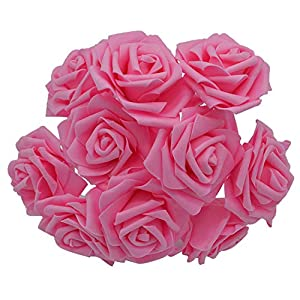 Awesome-experience Artificial Pe Foam Rose Flowers for Wedding Bride Bridegroom Bouquet Party Birthday Decoration Supplies 8,F04 Pink 29
