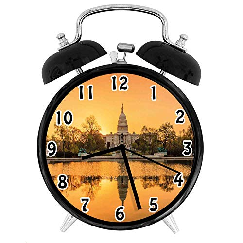 22yiihannz United States Decorative Alarm Clock,Washington DC Capital City White House Above The Lake-Office,Bedroom,Kitchen,Bathroom,Silent Battery Quartz Desk Clock-4 inch