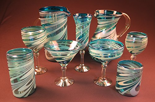 Mexican Margarita/ Martini Glasses and pitcher, Turquoise White Swirl, Hand Blown 15 oz set of 4 by Mexican Margarita Glasses (Image #2)