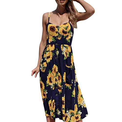 TOOPOOT Wome Summer Dress, Lady Floral Print Strap Casual Button Midi Dress Princess Dress (Size:S, Navy - Flounce Lace Dress