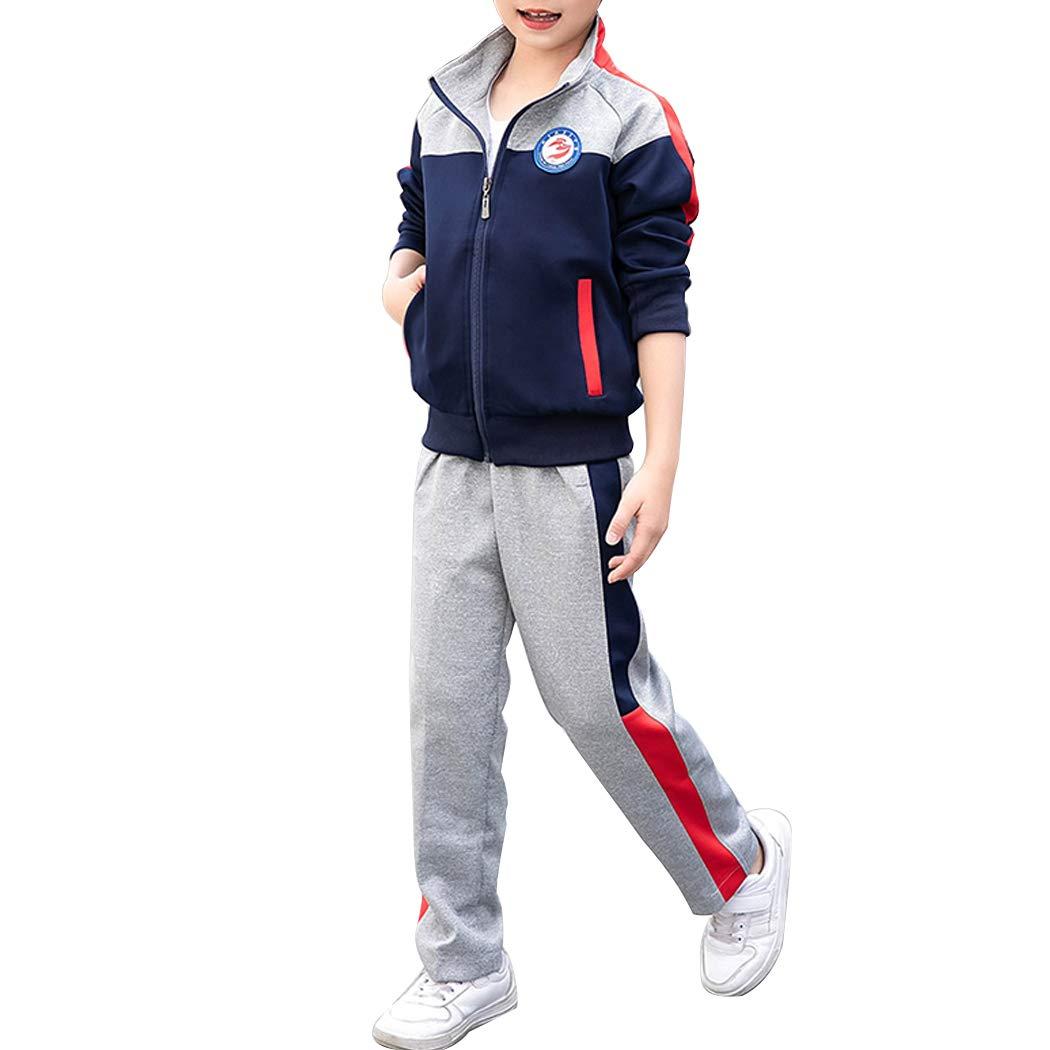 Sun Lorence Boy's & Girls 2 Piece Track Jacket and Pants Set Casual Jogging Tracksuit Royalblue1 M