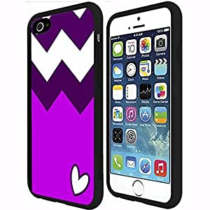 Purple and Lilac Chevron Pattern with Heart Rubber Snap on Phone Case (iPhone 6 Plus)