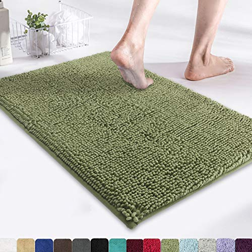MAYSHINE 17×24 Inches Non-Slip Bathroom Rug Shag Shower Mat Machine Washable Bath Mats with Water Absorbent Soft Microfibers of Sage Green