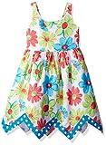 Bonnie Jean Toddler Girls' Sleeveless Floral Hanky Hem Cotton Dress, Aqua, 2T