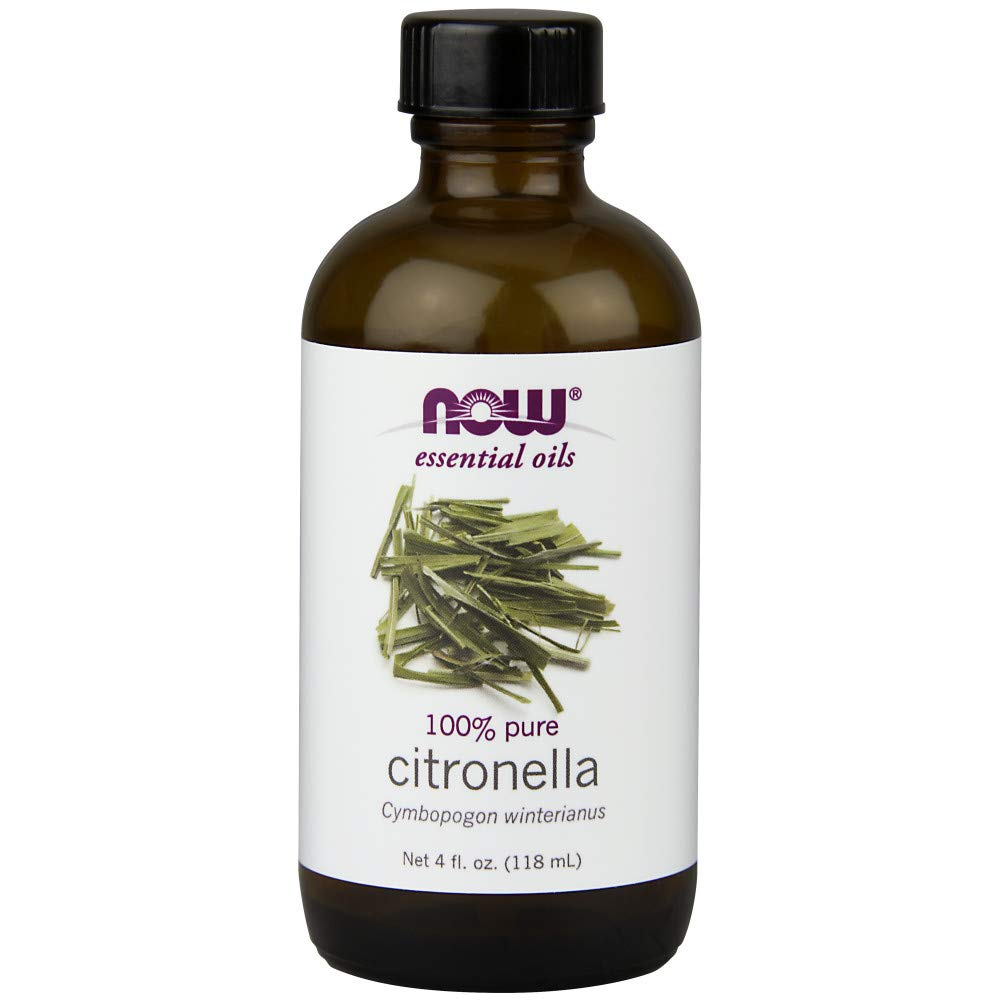 NOW Essential Oils, Citronella Oil, Freshening Aromatherapy Scent, Steam Distilled, 100% Pure, Vegan, 4-Ounce