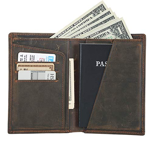 (Polare Men's Functional RFID Blocking Leather Passport Holder Travel Bifold Wallet(Dark)