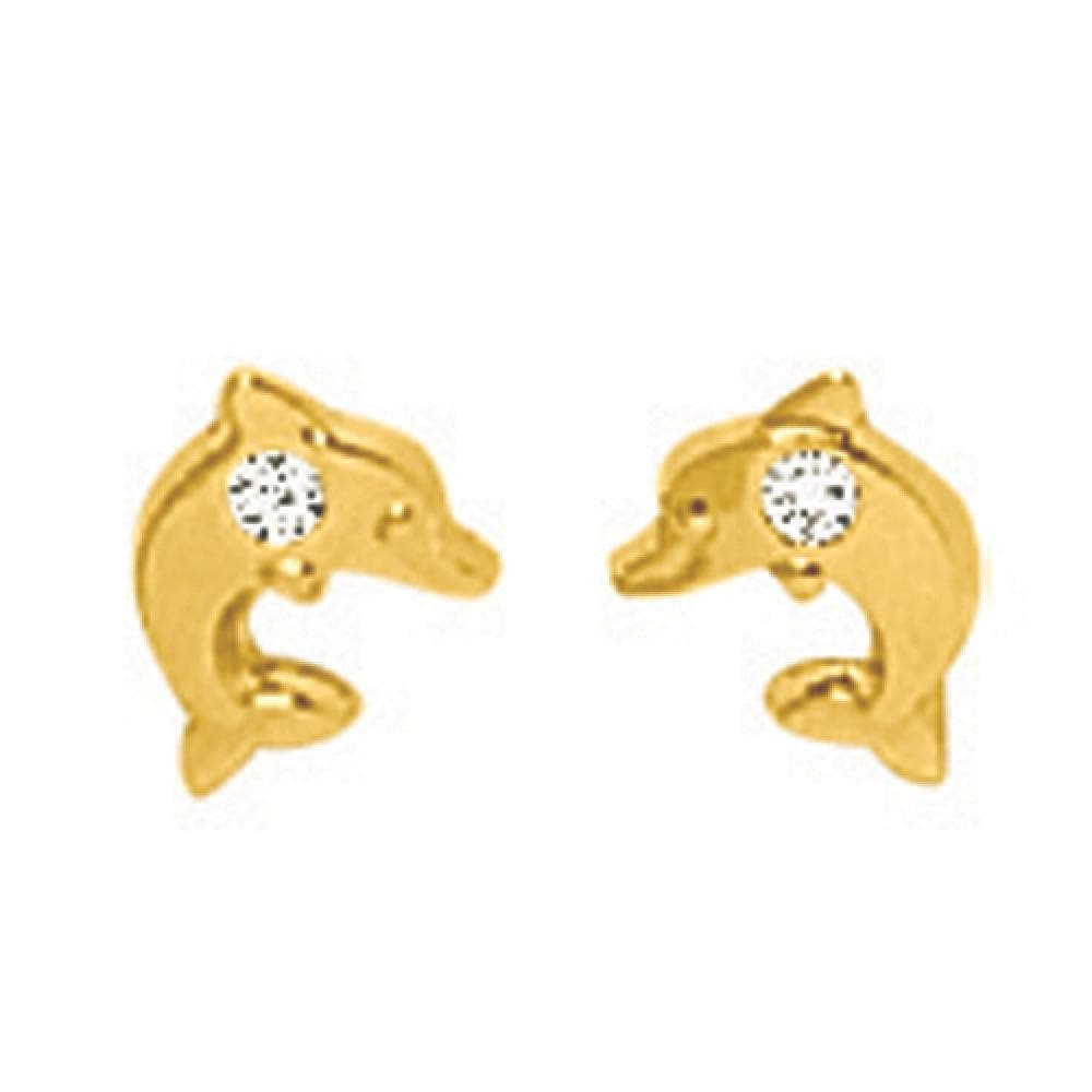 So Chic Jewels - 18k Yellow Gold - Dolphin with Cubic Zirconia Stud Earrings