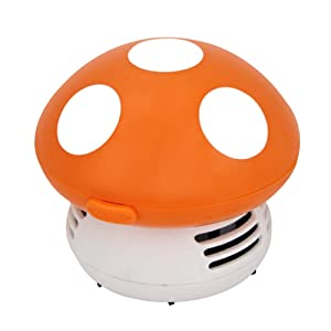 Small vacuum cleaner creative desktop vacuum cleaner cartoon mushroom mini keyboard dust collector (orange)