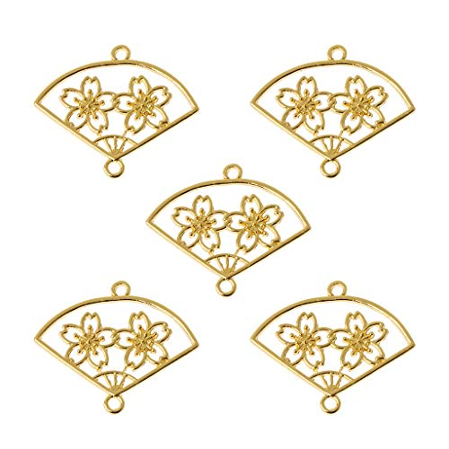 EHOO 5Pcs Cherry Blossom Fan Pendant Tray-Alloy Open Bezel Charm Pressed Flower Blank Frame Hollow Mould Pendants with Loop for UV Resin Crafts Jewelry ()