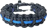 ParaOne- Paracord Bracelet | Premium Survival Bracelet With Firestarter Buckle, Whistle, Mirror, Snare Wire, Fire Tinder, Fishing Line | Made In The USA (Thin Blue Line, Medium)