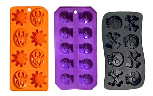 (Set of 3 Spooky Halloween Shaped Ice Cube Tray / Food Molds - skull and bones,spider and webs,skulls)