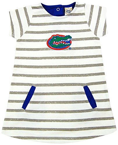 Florida Gators Ncaa Spring - Little King NCAA Florida Gators Striped Dress with Team Color Trim, 3T, Ivory