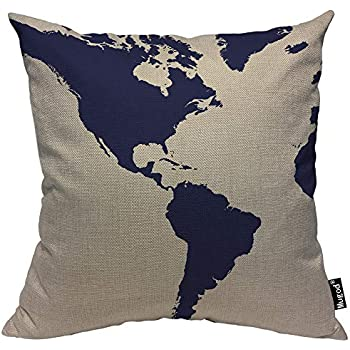 Mugod Globe Map Print Throw Pillow Cover Vintage World Map Watercolor Splash Dark Blue Ink Decorative Pillow Cases Square Cotton Linen Cushion Cover for Home Bed Sofa Couch 18x18 Inch