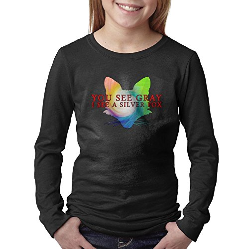 Silver Fox1 Unisex Youth Long Sleeve Cotton Crew Neck T-Shirt Tee