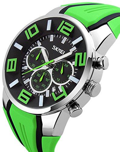 Mens Big Face Watch Unique Fashion Colorful Analog Quartz Chronograph Sports Wristwatches Green ()