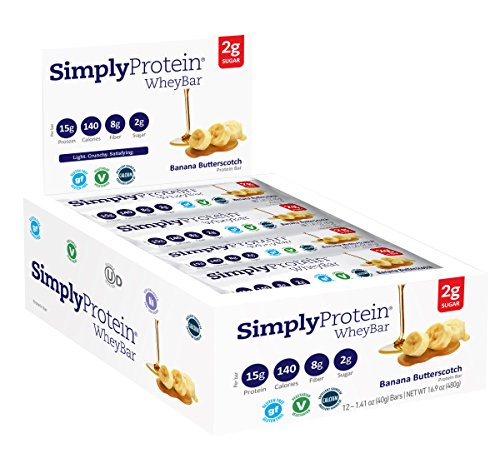 SimplyProtein Whey Bar, Banana Butterscotch, Gluten-Free - (1.4 oz, Pack of 12)