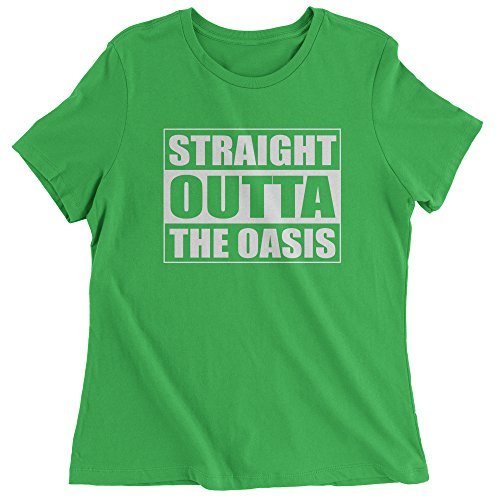 FerociTees Womens Striaght Outta The Oasis Player One Ready T-Shirt Medium Kelly (Womens Green Player Costumes)