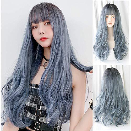 Lolita Style Cosplay long Spiral Wig Fashion Blue