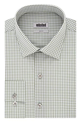 Kenneth Cole Unlisted Men's Dress Shirt Slim Fit Check, ash Green, 17