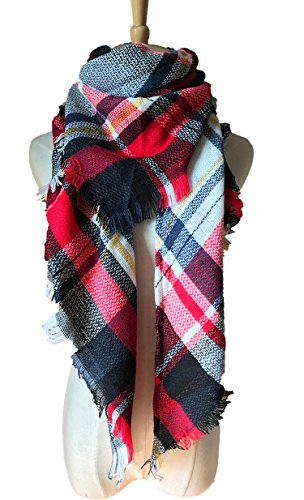 Wander Agio Womens Warm Scarf Triangle Shawls Large Scarves Stripe Plaid Fichu White Red Colour (Red Stripe Scarf)