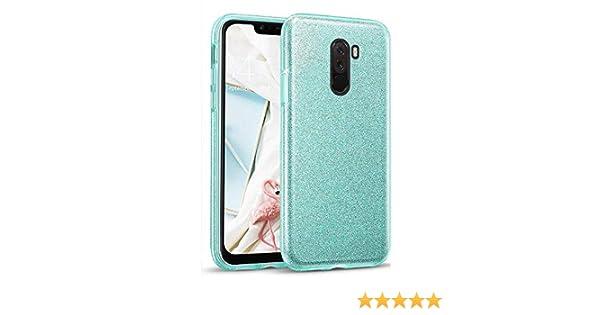 Azul Glitter Crystal Compatible con Funda Xiaomi Pocophone F1 Brillo Bling Brillante Purpurina Diamantes Carcasa Ultrafino Suave Silicona TPU y Dura PC Bumper Case Cover