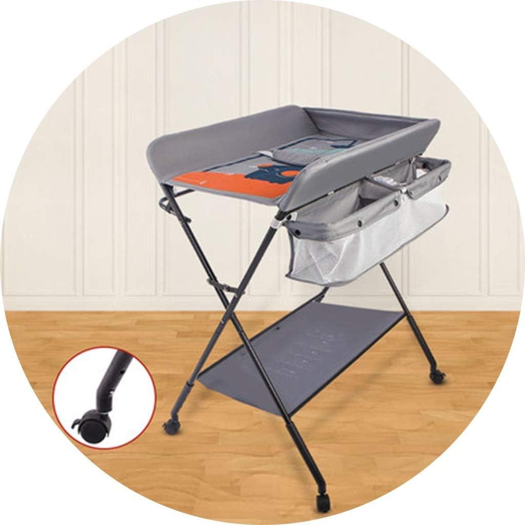 オムツ換えマット おむつテーブル赤ちゃん多機能授乳バスマッサージタッチテーブル折りたたみ式仕上げカート (Color : Gray, Size : 76*60*96cm)