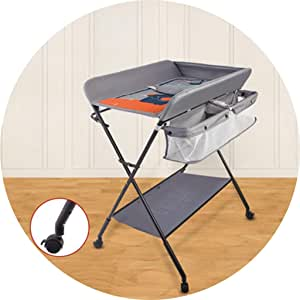Portable Changing Mats Diaper Table Baby Multifunctional Nursing Bath Massage Touch Table Foldable Finishing Cart (Color : Gray, Size : 76 * 60 * 96cm)