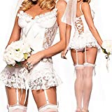 New Sexy Lace White Bride Dress Role-Playing Sexy Uniform Temptation Adult Erotic Bridal Sexy for Woman
