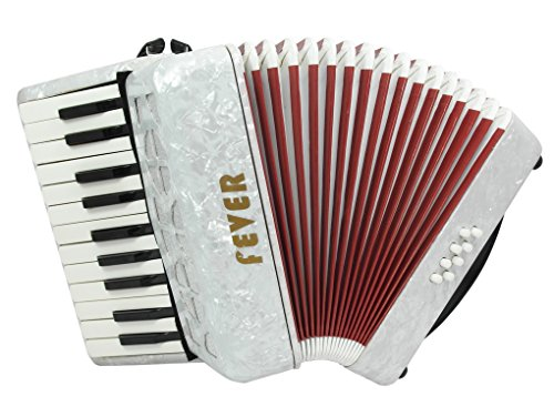 Fever Piano Accordion 22 Keys 8 Bass, White by Fever