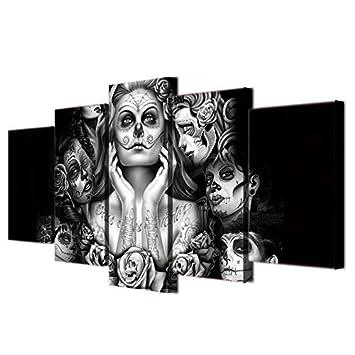 Tag Der Toten Gesicht Abstrakte Malerei Schwarz Und Weiß ART PRINTS Für Wohnzimmer  Wand Kunstdruck Bild