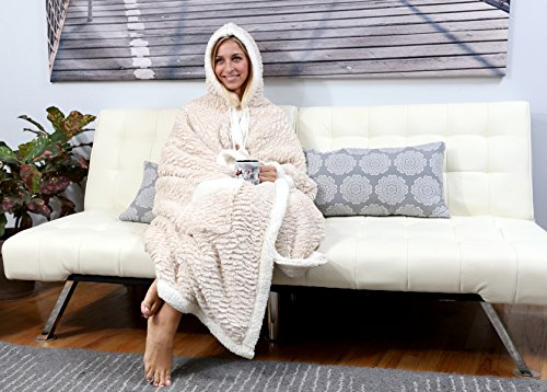 """Price comparison product image Chic Home Ove BRAND NEW!! Ultra plush sherpa lined Snuggle up animal print hoodie wearable blanket 51""""x71"""" Robe Beige"""