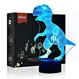 LED Night Light 3D Illusion Bedside Table Lamp 7 Colors Changing Sleeping Lighting with Smart Touch Button Cute Gift Warming Present Creative Decoration Ideal Art and Crafts (Dinosaur)