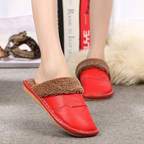 Chaussons laine hiver intérieur séjour parquet chaleureux et les hommes et les femmes, épais, des chaussons 25 (35-36), rouge