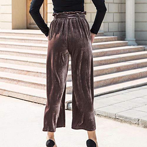 Da Allacciati Liuchehd Taglie Estivi Harem Forti pantaloni Elastici Donna Palazzo Larghi Elegante Pantaloni Eleganti Casual Marrone Leggeri Bff5Exrq